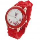 Fashion Quartz Wrist Watch with Butterfly Shaped Pointer - Red (1 x 377)