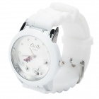 Fashion Quartz Wrist Watch with Butterfly Shaped Pointer - White (1 x 377)