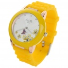 Fashion Quartz Wrist Watch with Butterfly Shaped Pointer - Yellow (1 x 377)