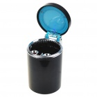 Cup Shaped Ashtray with Blue LED Light for Car - Black (1 x CR2016)