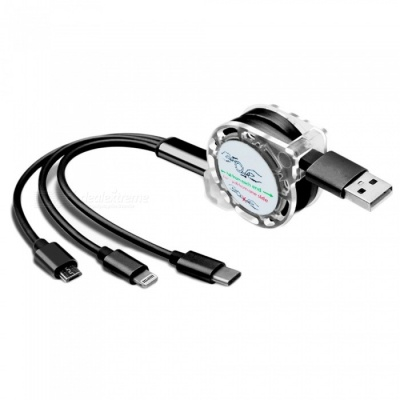 3-in-1 Usb Type-C Micro Usb Quick Charging Cable - Black