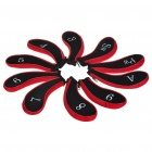 Golf Club Putter Head Cover Case - Black + Red (10-Pack)