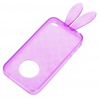 Cute Rabbit Ear Style Protective Case + Full Body Guard + Cloth for Iphone 4 - Purple