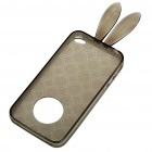 Cute Rabbit Ear Style Protective Case + Full Body Guard + Cloth for Iphone 4 - Black