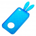 Cute Rabbit Ear Style Protective Case + Full Body Guard + Cloth for Iphone 4 - Blue