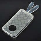 Cute Rabbit Ear Style Protective Case + Full Body Guard + Cloth for Iphone 4 - Transparent