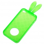 Cute Rabbit Ear Style Protective Case + Full Body Guard + Cloth for Iphone 4 - Green