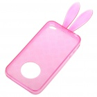 Cute Rabbit Ear Style Protective Case + Full Body Guard + Cloth for Iphone 4 - Deep Pink