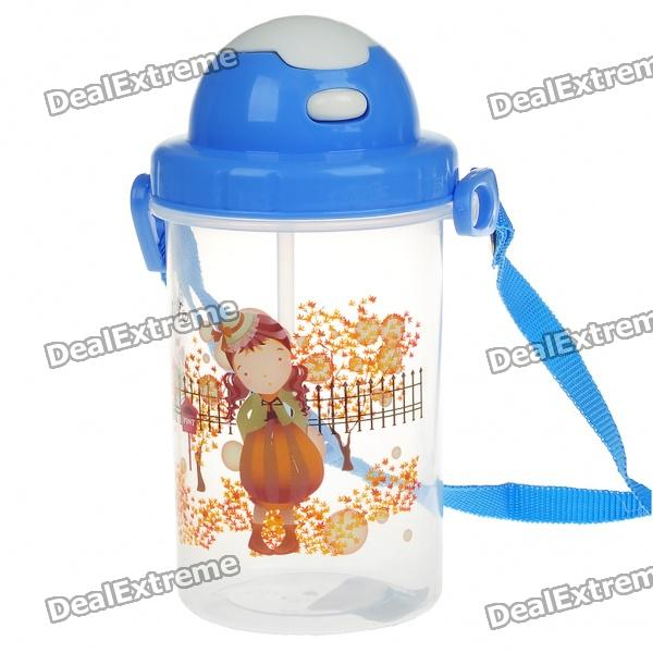 Cartoon Figure Water Cup with Cover + Straw + Strap (450ml)