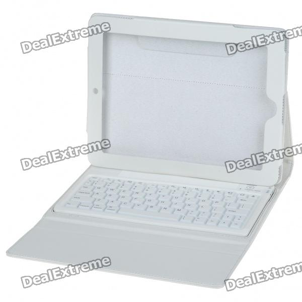 Bluetooth V2.0 2.4GHz Wireless Keyboard with Protective PU Leather Case for   Ipad - White