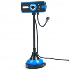Flexible Neck 300K Pixel CMOS PC USB 2.0 Webcam with Microphone & 3-LED White Light - Black + Blue
