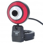 300K Pixel CMOS PC USB 2.0 Webcam with Microphone & Clip - Black + Red + Silver