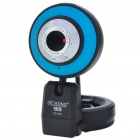 300K Pixel CMOS PC USB 2.0 Webcam with Microphone & Clip - Black + Blue + Silver