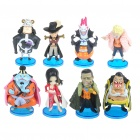 Cute ONE PIECE Vinyl Plastic Figures with Display Bases Set (8-Piece Set)