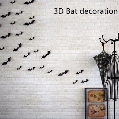 12Pcs Black Halloween Party Decoration DIY PVC Paper, 3D Bat Wall Stickers, Ghost Bat Scene Layout Supplies Black