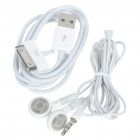 3.5mm Earphone with Microphone + USB Charging/Data Cable for iPhone 4 - White
