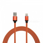 Mini Smile 3.4A 1M Universal Fast Charge Leather Type-C USB Charging Data Sync Cable - Orange