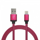 Mini Smile 3.4A 1M Universal Fast Charge Leather Type-C USB Charging Data Sync Cable - Claret