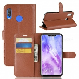PU Leather Flip Open Back Full Body Case w/ Stand for Huawei Nova 3 - Brown