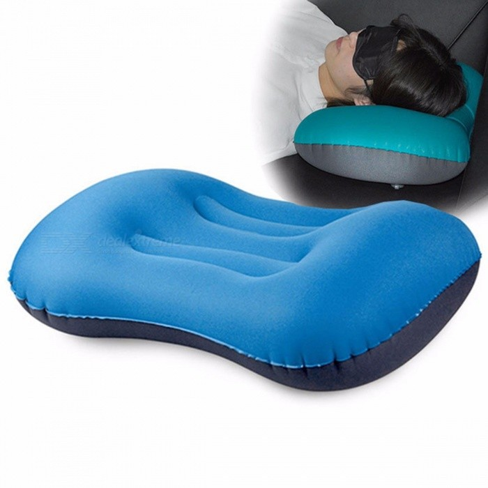 Outdoor Portable Inflatable Pillow Camping Sleeping Neck Pillow Lunch Break Cushion Travel Pillow Peacock
