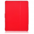 Protective Woven Mat Style PU Leather Case for Apple iPad 2 - Red