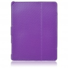 Protective Woven Mat Style PU Leather Case for Apple iPad 2 - Purple