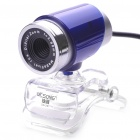 300K Pixel CMOS PC USB 2.0 Webcam with Clip - Blue + Silver (110CM-Cable)