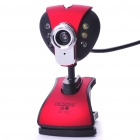 300K Pixel CMOS PC USB 2.0 Webcam with Microphone/Clip/6-LED White Light - Red + Black (120CM-Cable)