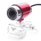 300K Pixel CMOS PC USB 2.0 Webcam with Clip - Red + Silver (110CM-Cable)