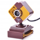 300K Pixel CMOS PC USB 2.0 Webcam with Microphone & Clip - Coffee + Yellow (120CM-Cable)