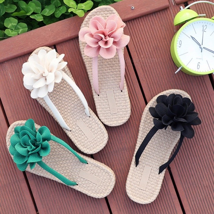 bd6b451f1 2018 New Summer Women Outside Flip-flops For Womens Fashion Wear Straw Slippers  Thick Bottom Seaside Sandals Green 40