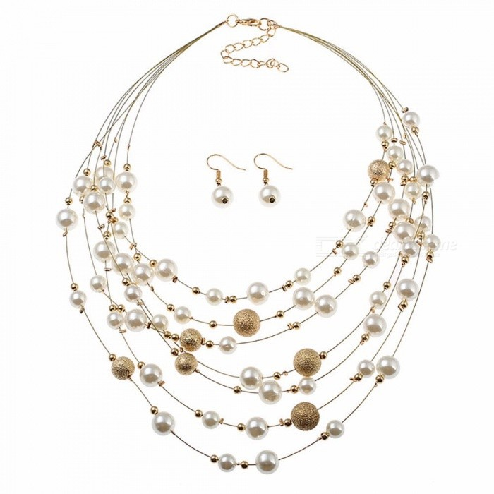 d56d44169caf1 Stylish Multi-Layer Matte Beads Pearl Necklace + Earrings Set, Fashion  Jewelry Sets For Women Gold