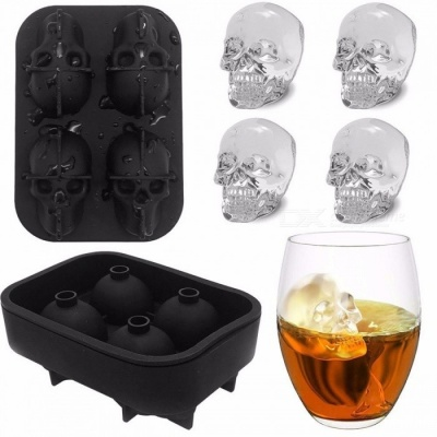 3D Silicone Skull Ice Cube Molds Whiskey Cocktail Ice Ball Ice Cream Mold Maker Tray Halloween Party Bar DIY Tool Black
