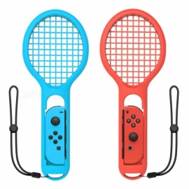 Kitbon Tennis Racket for Nintendo Switch Joy-Con Controller - Blue + Red (1 Pair)
