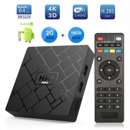 android 8.1 inteligente reproductor de TV hk1mini rk3229 chip 2B RAM, ROM 16GB, 4K red set-top box enchufe de la UE