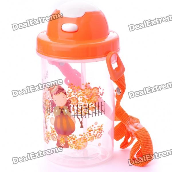 Cartoon Figure Water Cup with Cover/Straw/Strap - Color Assorted (450ml)