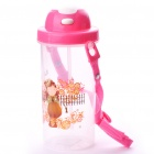 Cartoon Figure Water Cup with Cover/Straw/Strap - Pink (550ml)
