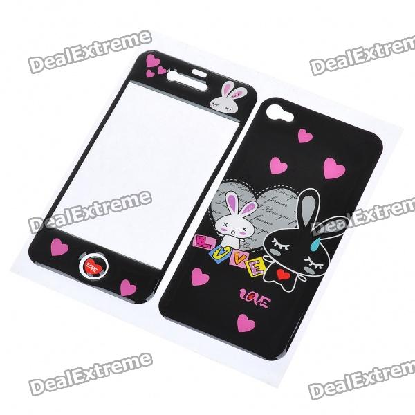 Protective Skin Stickers for iPhone 4 - Black + Pink
