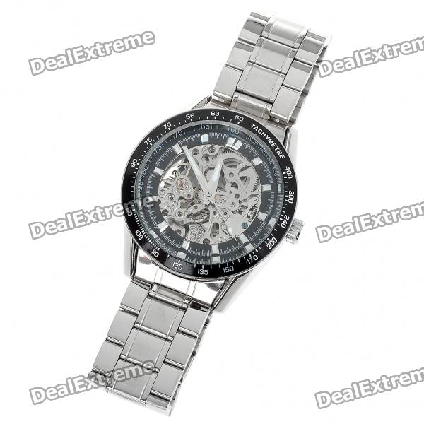 Wilon Manual-Winding Mechanical Wrist Watch - Silver + Black