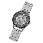 Wilon Manul-Winding Mechanical Wrist Watch - Silver + Black