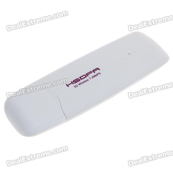 7.2M HSDPA 3G SIM Card USB 2.0 Wireless Modem Adapter with TF Card Slot - White