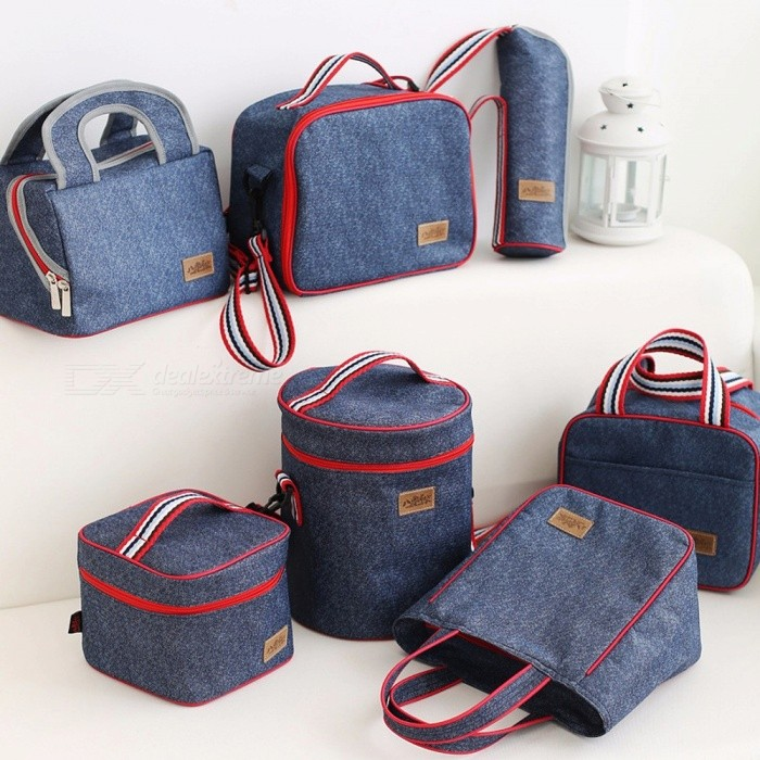 Portable Insulated Denim Lunch Bag Thermal Food Picnic Bag Cooler Lunch Box  Bag 16.5x16. 7503cc1e17