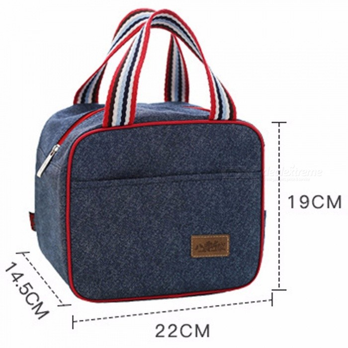 Portable Insulated Denim Lunch Bag Thermal Food Picnic Bag Cooler Lunch Box Bag 22x14.5x19CM Blue - Free shipping - DealExtreme