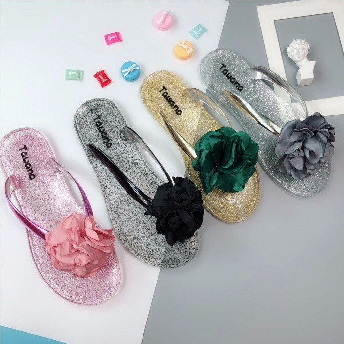 a7f392b0c Non Slip Flower Girls Jelly Shoes, Beach Flip Flops, Cute Flat Soft Summer  Slipper For Women Black/36 - Free shipping - DealExtreme