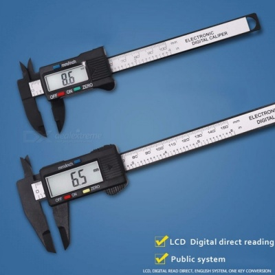 Vernier Caliper, 0-100mm Electronic Digital Caliper, Carbon Fiber Plastic LCD Micrometer Measuring Tool Black