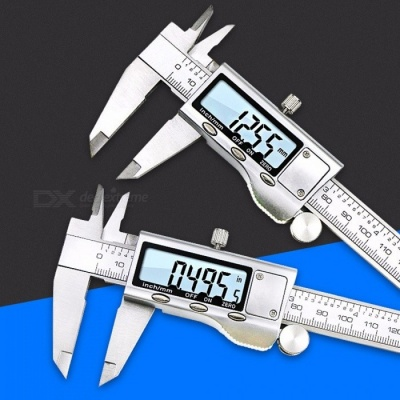 Full Metal Stainless Steel Vernier Caliper, 0-150mm Electronic Digital Caliper, LCD Measuring Tool (With Screws) Silver