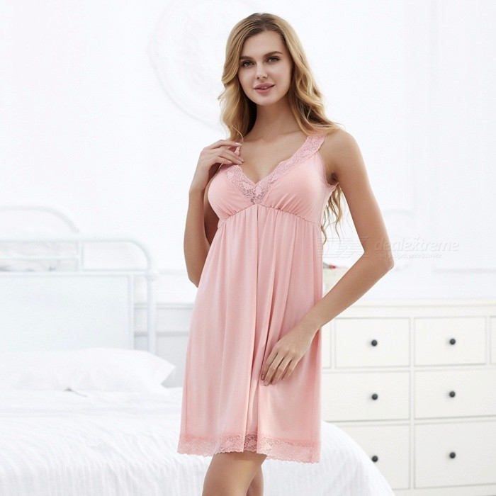 044df6d655c6 Womens Soft Nightgowns Slip Dress Female Sweet High Waist Sleeping Home Dress  Lace Sexy Night Dress With Chest Pads White XXL - Worldwide Free Shipping -  DX