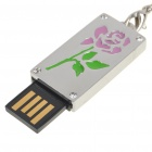Fashion USB 2.0 Rose Pattern Flash Drive Memory Disk - Silver + Pink + Green (4G)