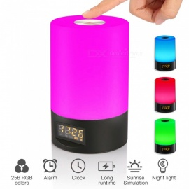 Jiawen Smart Wake Up Licht Touch-Sensitive Uhr LED RGB Nachttischlampe - schwarz