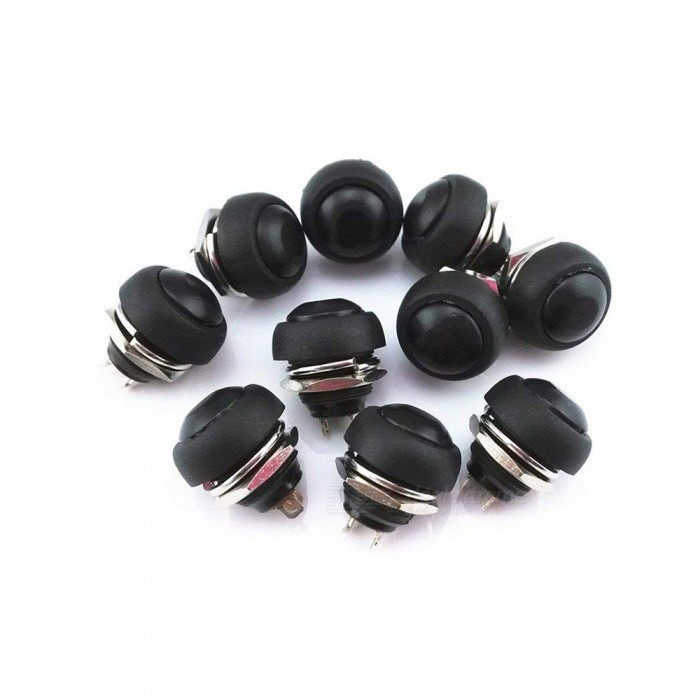 10 PCS MARINE BOAT CAR 12MM MINI ROUND BLACK PUSH BUTTON SWITCH MOMENTARY ON-OFF